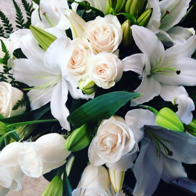blooming oriental lillies and vendela roses bouquet from sunshine coast's premier online florist
